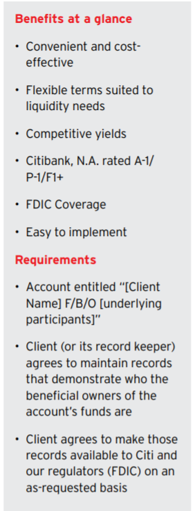 fbo bank account benefits citi